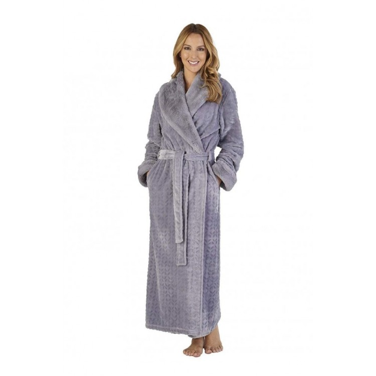 Slenderella Faux Fur Collar Dressing Gown