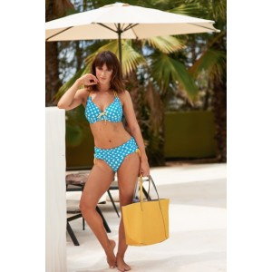 Pour Moi Starboard Halter Triangle Underwired Top - Turq/Lemon